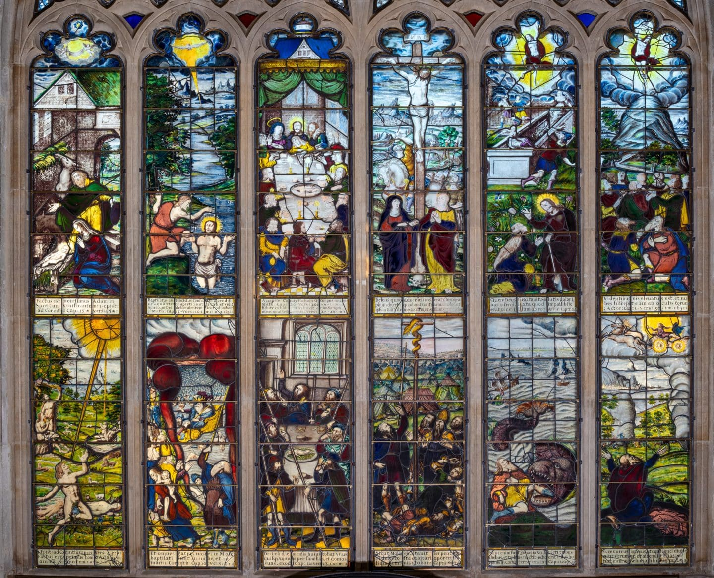 The East Window in Chapel, featuring six scenes from the Old Testament and six scenes from the New Testament