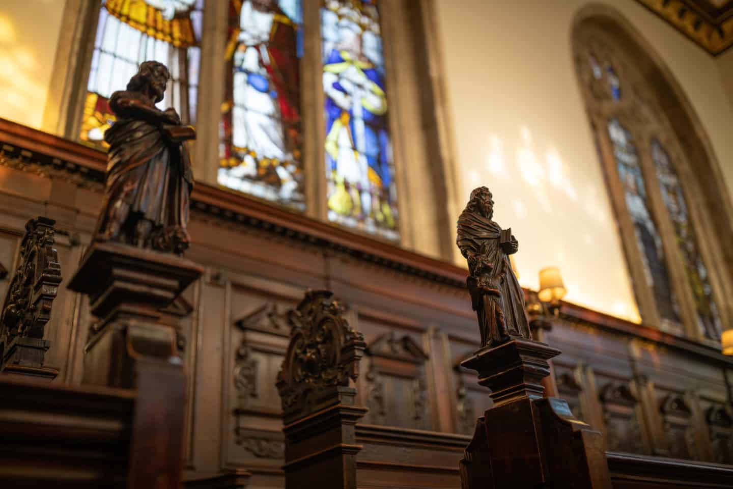 Carved figures of Saints in the College Chapel
