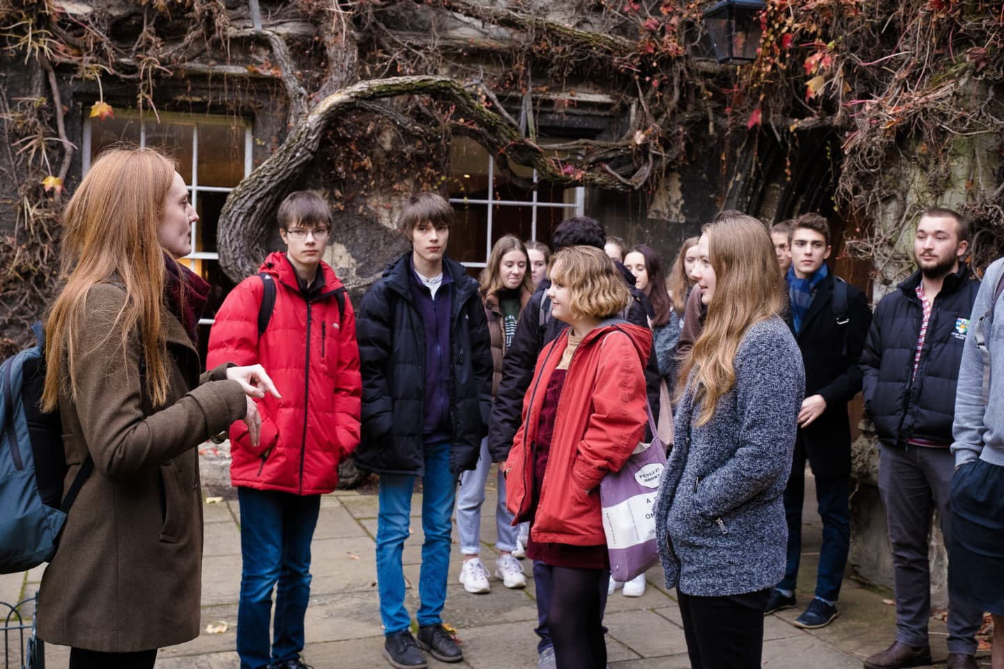 Schools Liaison Officer speaks to a school group on a tour of Lincoln College